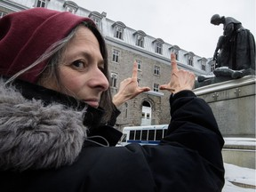 "Filmmaker Annabel Loyola stands before a sculpture of Jeanne Mance on the grounds of the Hôtel-Dieu Hospital. ""I believe that to maintain the vocation, the spirit (of the Hôtel-Dieu), we have to remember,"" Loyola said. ""There's the Musée des Hospitalières, and there's my movie. After that, the future will tell."""