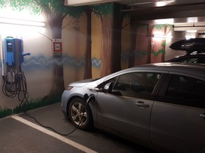 A charging station at a Cadillac Fairview property. The company announced plans to expand its network of chargers.