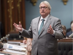Quebec Health Minister Gaetan Barrette responds to the Opposition on health, Wednesday, April 12, 2017 at the legislature in Quebec City. Barrette reacted to the coming federal legislation on marijuana.
