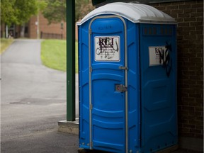 A portable toilet in Coffee Park in Notre-Dame-de-Grace in Montreal on Monday, July 25, 2011.