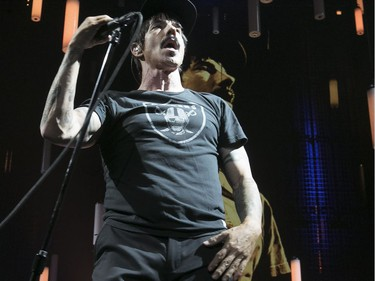 Anthony Kiedis of Red Hot Chili Peppers at the Bell Centre in Montreal on Tuesday June 20, 2017.