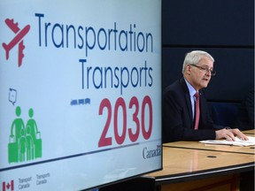 Transport Minister Marc Garneau speaks at the National Press Theatre in Ottawa on Tuesday, May 16, 2017. Garneau has introduced legislation to create a new passenger bill of rights, which will give travellers a better idea of when airlines will have to compensate them.