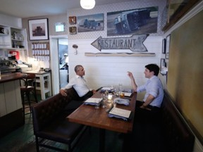Former U.S. President Barack Obama and Canadian Prime Minister Justin Trudeau grab bite to eat at Liverpool House in Montreal, June 6, 2017.