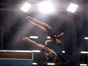 Quebecers Meaghan Benfeito and Nathan Zsombor-Murray compete during the Mixed Diving 10m Synchro Platform Final on Daty 2 of the Budapest 2017 FINA World Championships on Saturday, July 15, 2017 in Budapest.