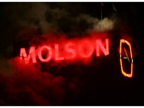 The Molson logo shining in the Montreal darkness.