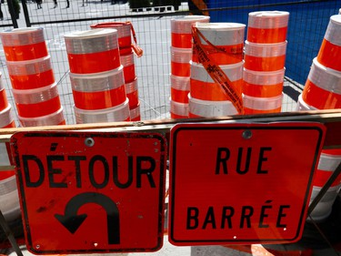 Cones, fences and detours around the Formula E site in Montreal on Saturday, July 29, 2017.
