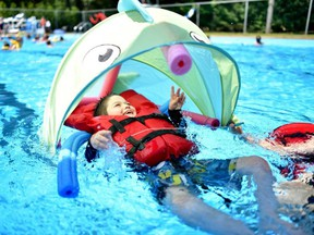 St-Lazare's day camp has specialty life jackets and a new pool lift for kids with disabilities like Enzo Racine. (St-Lazare courtesy photo)