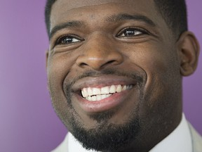 Nashville Predators player P.K. Subban smiles as he speaks to reporters prior to attending a Montreal Children's Hospital Foundation gala in Montreal, Wednesday, August 30, 2017. THE CANADIAN PRESS/Graham Hughes