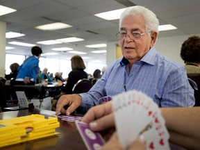 Lenny Zelnicker plays bridge at a club he co-founded in Montreal on Monday, September 11, 2017.
