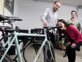 Valérie Plante gets a tour of bicycle accessory-maker SmartHalo on Thursday, Nov. 9, 2017. Plante could be a saviour for both Bike-Josh and Car-Josh.
