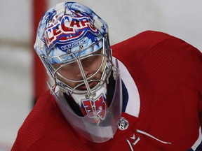 Canadiens goalie Charlie Lindgren is still sporting the mask from his days with the St. John's IceCaps.