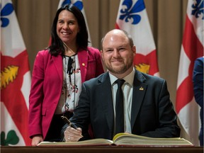 Newly-elected Mayor Valerie Plante announced Craig Sauve to the Executive Committee at Montreal City Hall on Monday, November 20, 2017. (Dave Sidaway / MONTREAL GAZETTE)