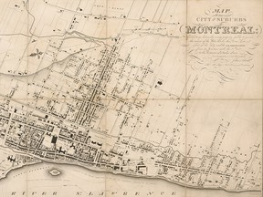 Detail from John Adam's 1825 Map of the City and Suburbs of Montreal.