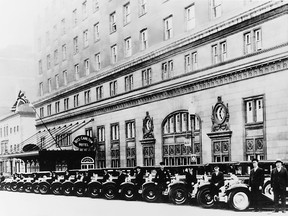 Murray Hill limousines parked outside the Montreal Ritz Carlton Hotel, circa 1930.