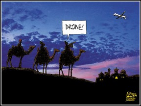 Three wise men and a drone: 2014 Christmas editorial cartoon card drawn by Terry Mosher, a.k.a. Aislin.