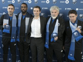 Impact coach Rémi Garde, centre, after  announcing the new coaching staff for the coming season in Montreal on Wednesday January 10, 2018. From left are: Maxence Flachez, Wilfried Nancy, Joël Bats and Robert Duverne.