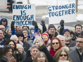 West Islanders, including several mayors, attended a rally outside Pointe-Claire city hall on Sunday to protest agglomeration tax hikes being imposed by Montreal.
