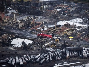 July 2013: The aftermath of the train derailment in Lac Mégantic.