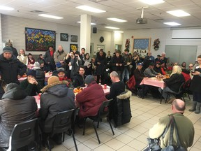 Montreal mayor Valérie Plante attends the Feast of the Three Kings at the Accueil Bonneau day centre for the homeless.