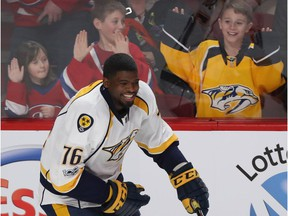 Nashville Predators' P.K. Subban gives young fans a thrill during warmup at the Bell Centre on March 2, 2017.