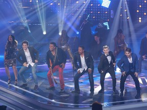 Jackson brothers Tito (third from left) and Marlon (third from right) are among the international stars who have appeared on La Voix. They sang with Season 5 finalists Rebecca Noelle (from left), Ludovick Bourgeois, David Marino and Frank Williams.