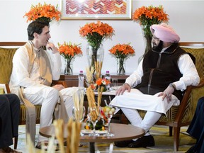 Prime Minister Justin Trudeau meets with Chief Minister of Punjab Amarinder Singh in Amritsar, India on Wednesday, Feb. 21, 2018.