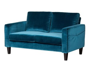 South Shore's Live-It Cozy Sofa delivers style in a small box to fit into tight quarters (assembly required). $519,