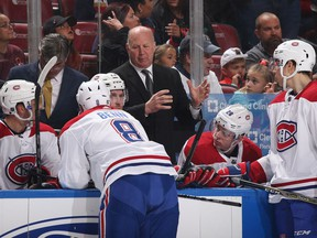 SUNRISE, FL - MARCH 8: Head coachClaude Julien of the Montreal Canadiens directs the players during a break in action against the Florida Panthers at the BB&T Center on March 8, 2018 in Sunrise, Florida.