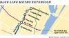 Approximate locations of new métro stations along the blue line.