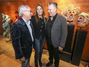 """There was a huge demand from fans,"" Daniel Fortin (right), vice-president of creation at Cirque du Soleil said after announcing the return of Alegria alongside Cirque president and CEO Daniel Lamarre, (left) with chief executive production officer Yasmine Khalil. (John Mahoney / MONTREAL GAZETTE)"