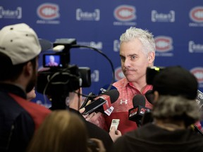 New Canadiens assistant coach Dominique Ducharme meets with the media at the team's Brossard practice facility on April 27, 2018.