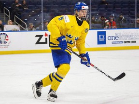 Sweden's Rasmus Dahlin skates during first period IIHF World Junior Championship in Buffalo on Dec. 31, 2017. The Rasmus Dahlin sweepstakes are set to go.The fate of the flashy Swedish defenceman — the consensus choice to be selected first overall in the NHL draft in June — will be decided at the NHL draft lottery on Saturday night in Toronto.