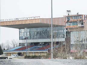 The Hippodrome de Montreal grandstand, formerly known as the Blue Bonnets is shown in Montreal, Tuesday, April 24, 2018.