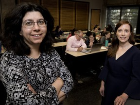 Doina Precup, left, a McGill professor and the head of Google-affiliated Deepmind's Montreal office, along with Angelique Mannella, a former senior McGill official are launching a new program in Montreal as part of an initiative called AI4Good.