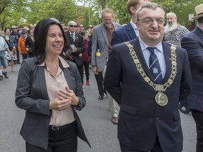 Montreal Mayor Valérie Plante and Mícheál Mac Donncha, Lord Mayor of Dublin, participate in the Walk to the Stone on Sunday, May 27, 2018.