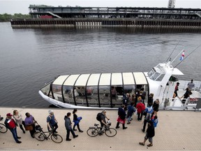 Passengers embark at St-Jean-Baptiste Blvd. in Pointe-aux-Trembles and arrive at the Jacques-Cartier pier in Old Montreal after a trip scheduled to take less than 30 minutes.