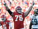 The Kansas City Chiefs' Laurent Duvernay-Tardif celebrates after a field goal in 2016.