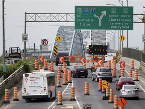 Southbound traffic heading over the Mercier Bridge on June 27 is forced onto a northbound lane during construction.