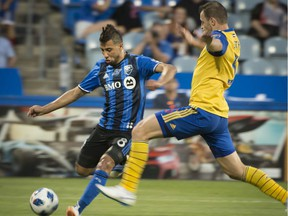 Montreal Impact's Saphir Taider takes a shot on Colorado Rapids net to score during second half MLS action in Montreal on Saturday, July 7, 2018.