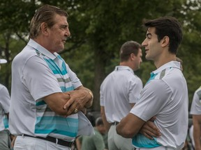 Canadiens' Max Pacioretty chatted with former Habs great Serge Savard during the captain's charity golf tournament n Ste-Julie in August.