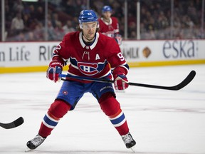 Canadiens forward Jonathan Drouin in NHL pre-season action against the Florida Panthers at the Bell Centre in Montreal on Sept. 19, 2018.
