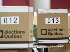 Ballot boxes are shown at a polling station in Montreal, Monday, October 1, 2018, on election day in Quebec.