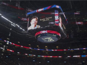 Montreal Canadiens paid tribute to longtime broadcaster Randy Tieman during first period of National Hockey League game agains the Washington Capitals in Montreal on Monday, Nov. 19, 2018.  Tieman died suddenly on Friday.