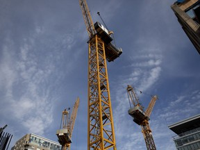 Construction cranes fill the sky as condo projects are built in Old Montreal on Thursday, September 27, 2018. (Allen McInnis / MONTREAL GAZETTE) ORG XMIT: 60