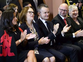 Veterans Affairs Minister Jody Wilson-Raybould (left to right), Treasury Board President Jane Philpott, Indigenous Services Minister Seamus O'Regan, Justic Minister David Lametti and Minister of Rural Economic Development Bernadette Jordan attend a cabinet shuffle at Rideau Hall in Ottawa on Monday, Jan. 14, 2019.