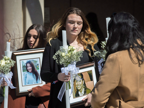Funeral-goers leave the funeral for murder victims Pejcinovski Krassimira and her children Roy and Venallia, March 24, 2018.