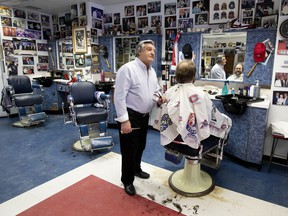 """Dominique Perazzino's Chez Menick is a hockey shrine as well as an old-school barbershop. """"Not one customer walks in that I don't talk to,"""" he says. """"I take care of my customers."""""""