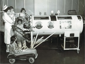 New iron lung at the Children's Memorial Hospital, Feb. 26, 1954.