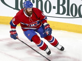 Canadiens defenceman Jordie Benn skates during warmup before NHL game against the Florida Panthers at the Bell Centre in Montreal on Jan. 15, 2019.