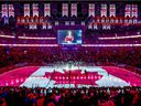 The Canadian flag is projected onto the ice at the Bell Centre during the singing of national anthem before NHL game between the Canadiens and Florida Panthers at the Bell Centre in Montreal on Tuesday, Jan. 15, 2019.